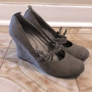 Taupe Mary Jane wedges